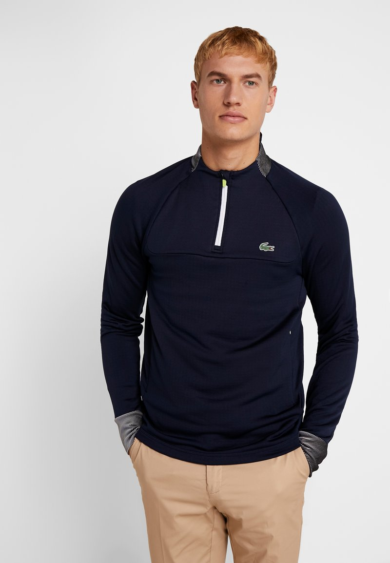 Lacoste Sport - WITH ZIP - Long sleeved top - navy blue/white