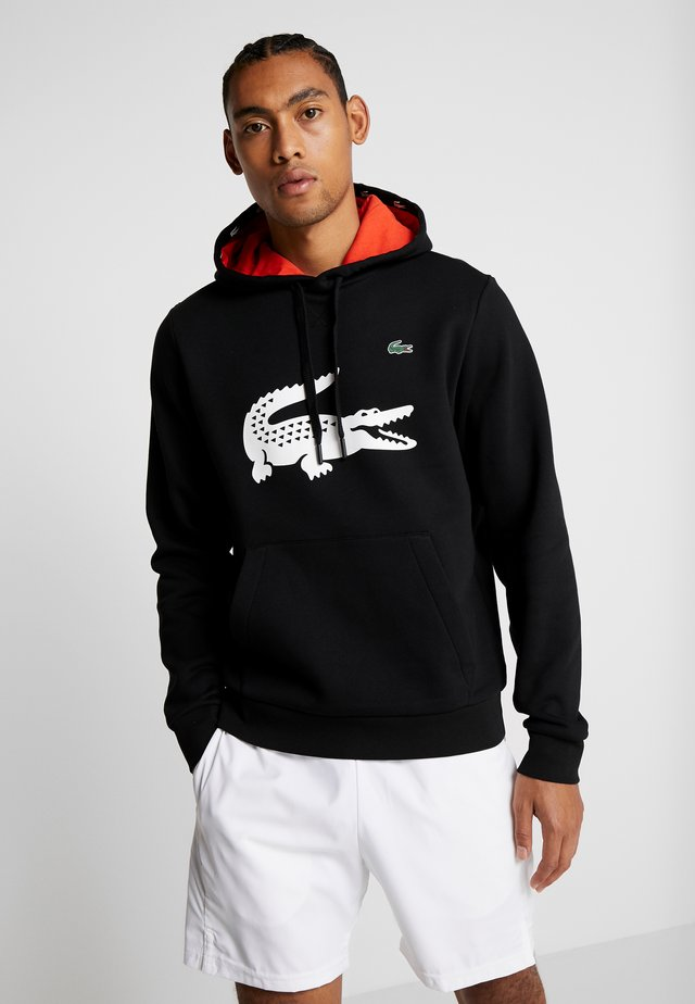 LOGO - Sweat à capuche - black/corrida white