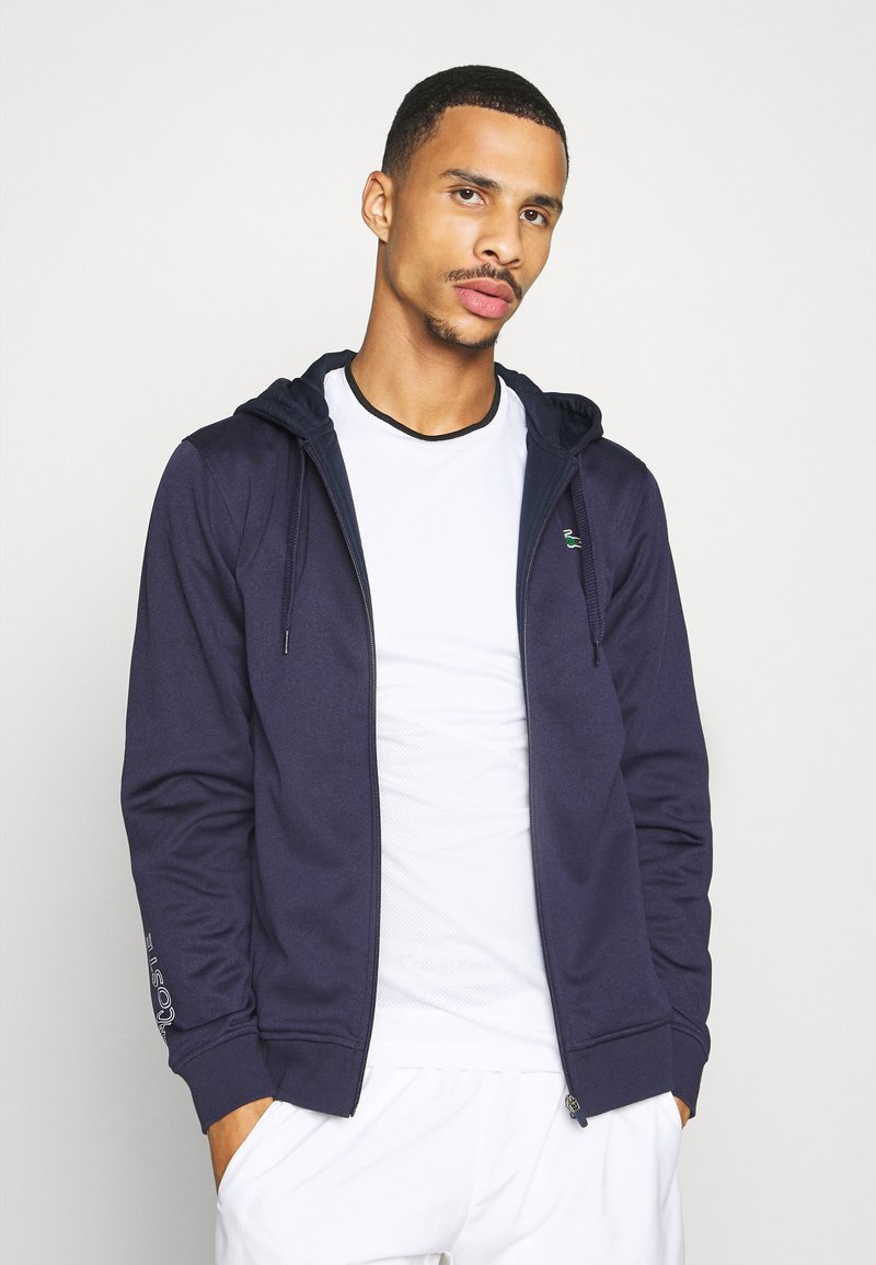 Lacoste Sport - TECH HOODIE - Zip-up hoodie - touareg chine/navy blue