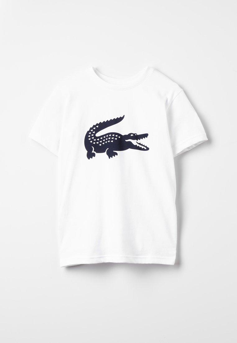 Lacoste Sport - LOGO - T-shirt z nadrukiem - white/marine