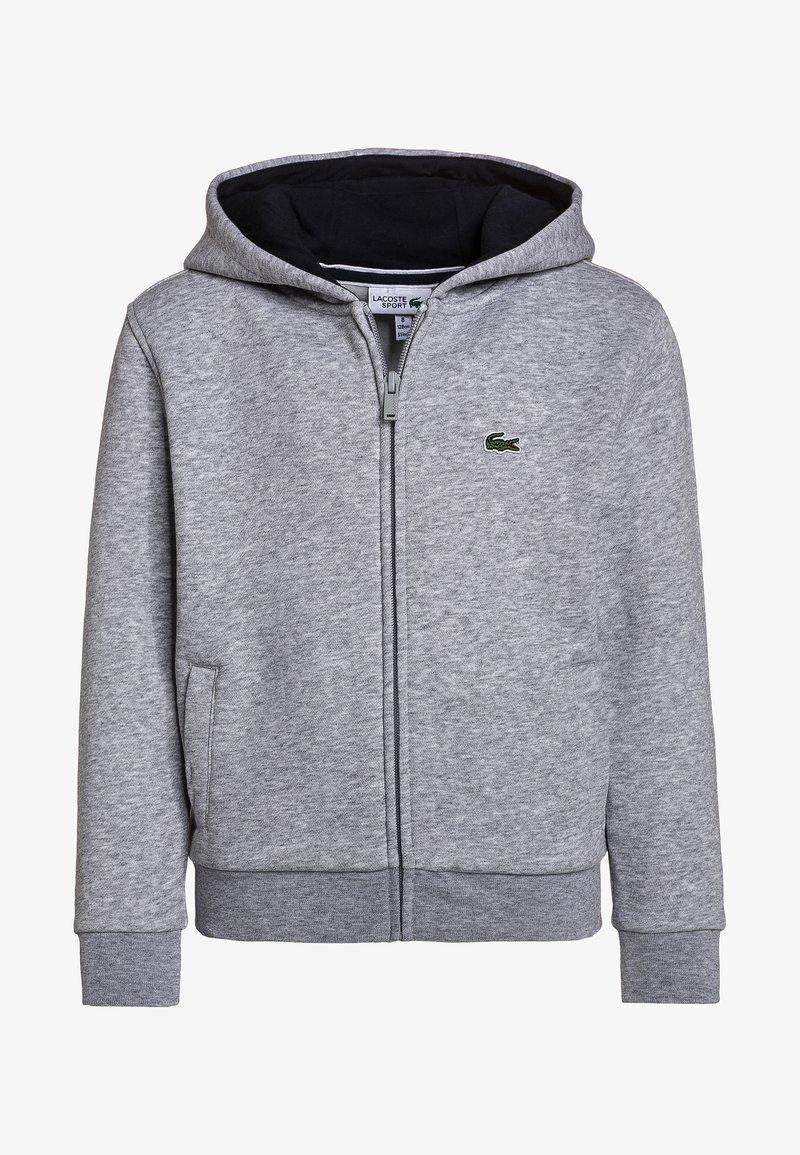 Lacoste Sport - TENNIS HOODIE - Zip-up hoodie - silver chine/navy blue