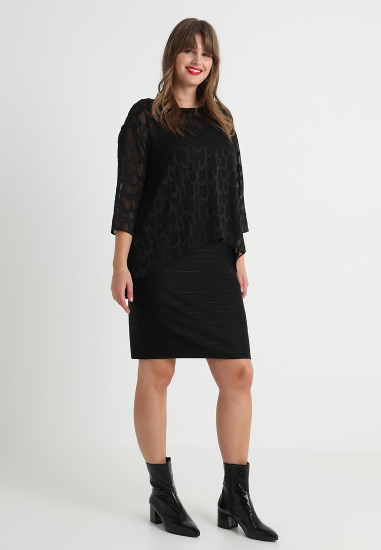 Live Unlimited London - BURNOUT OVERLAYER DRESS WITH BANDAGE SKIRT - Cocktail dress / Party dress - black