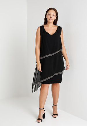 TIERED DRESS WITH TRIM - Cocktailkjole - black