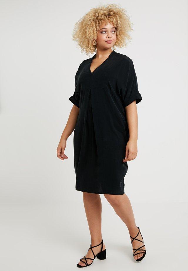 MANDARIN COLLAR DRESS - Vapaa-ajan mekko - black