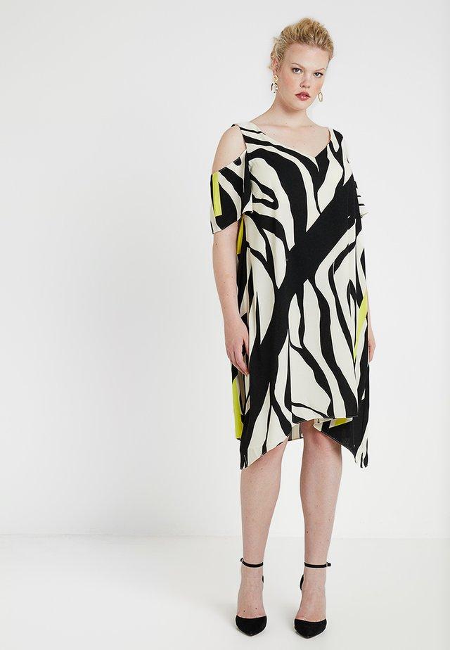 ZEBRA PRINT BACK COLD SHOULDER DRESS - Day dress - ivory