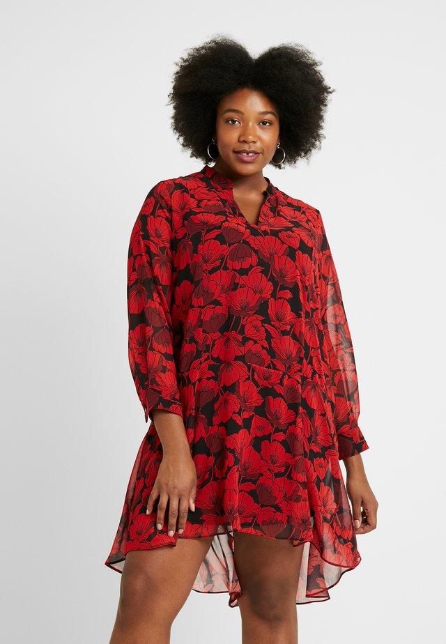 POPPY DROPPED WAIST DRESS - Day dress - red