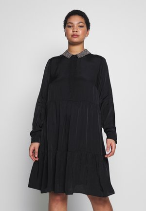 TIERED TUNIC TRIM COLLAR DRESS - Skjortekjole - black