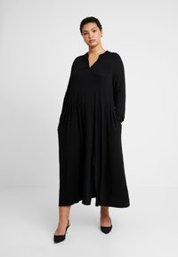 Live Unlimited London - MIDI SHIRT DRESS - Maxikjole - black - 0