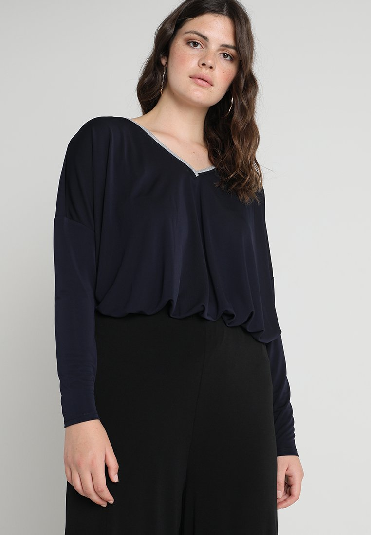 Live Unlimited London - PLEAT FRONT DETAIL WITH SKINNY SLEEVE AND COLLAR - Longsleeve - navy
