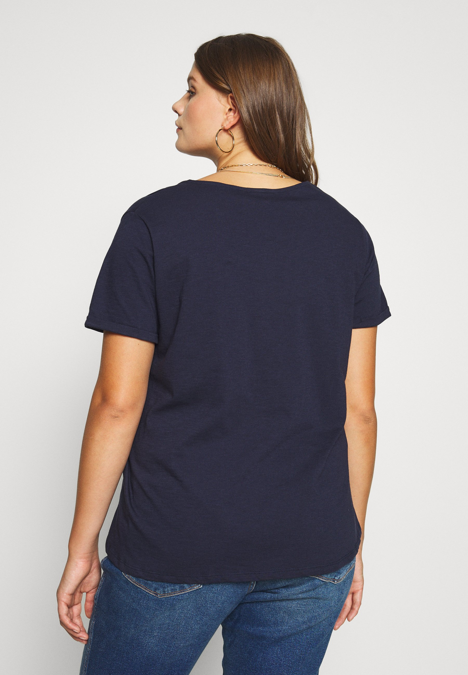 Live Unlimited London NECK SLUB TEE - T-shirts - navy