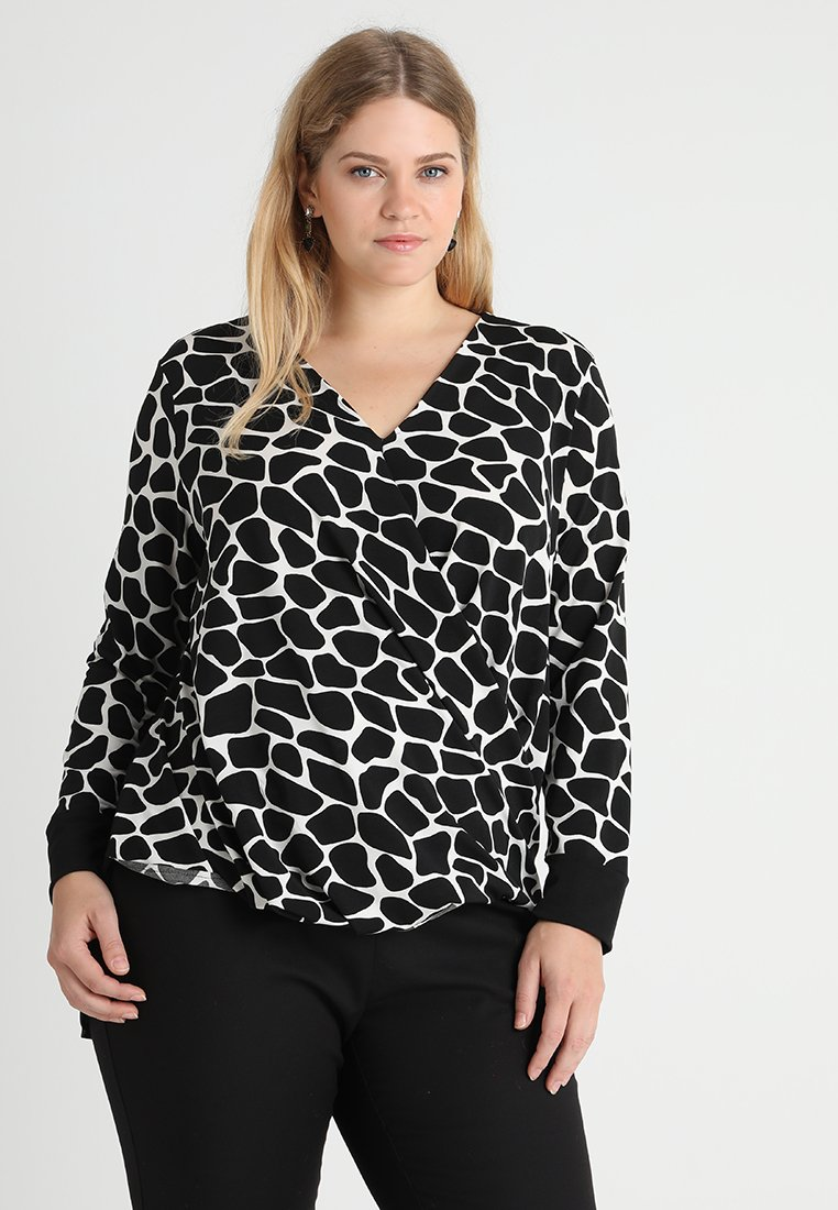 Live Unlimited London - PRINTED CROSS OVER DRAPED - Long sleeved top - black