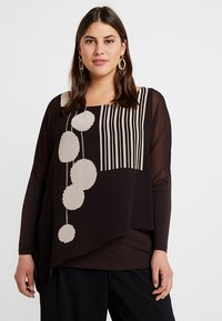 Live Unlimited London - POM POM PRINTED - Blouse - chocolate - 0