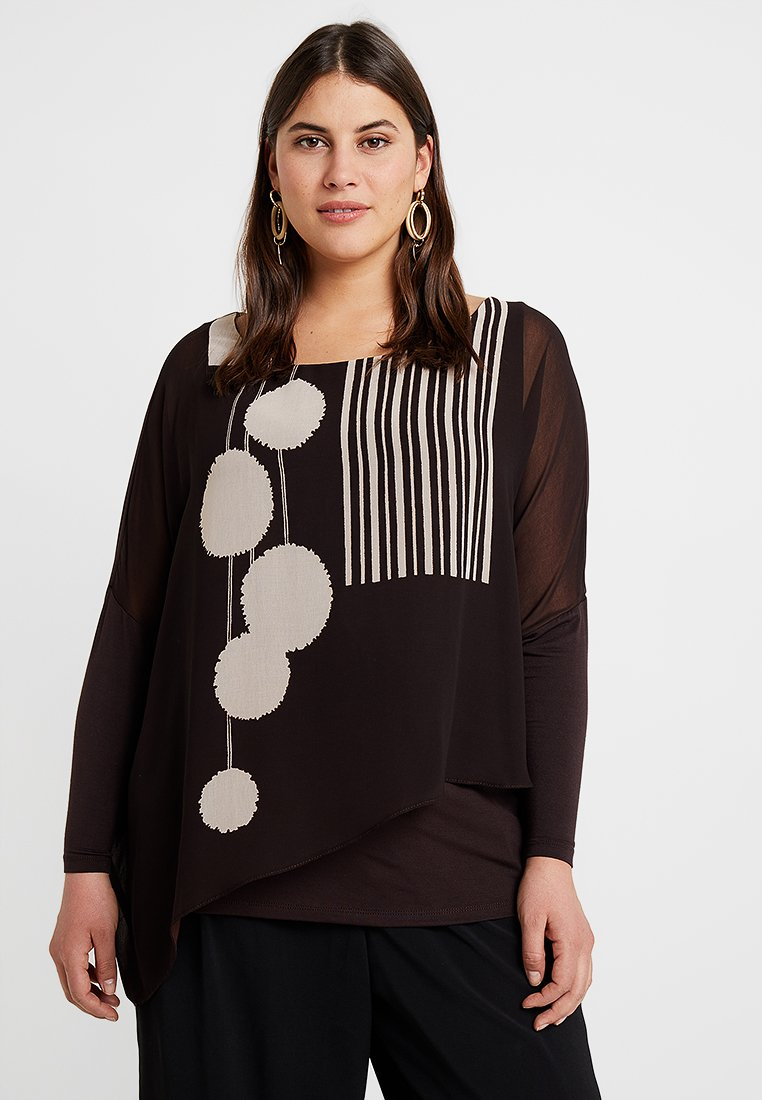 Live Unlimited London - POM POM PRINTED - Blouse - chocolate