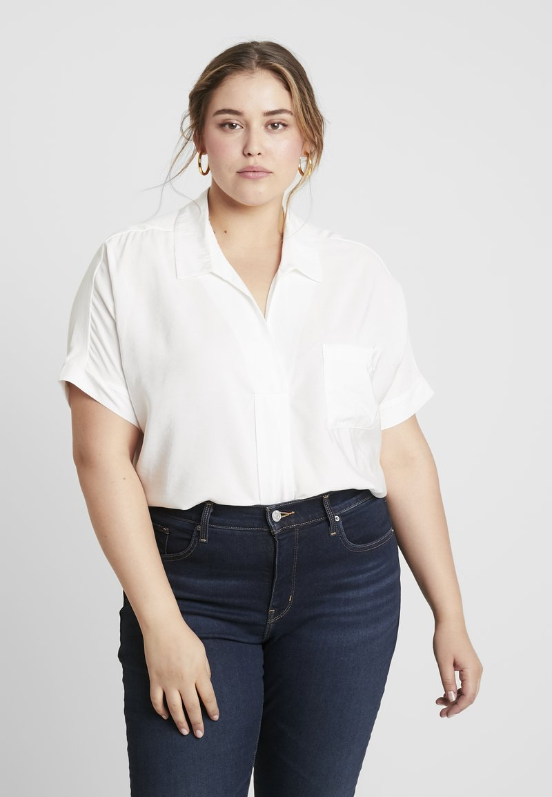 Live Unlimited London - HIGH LOW HEM BLOUSE - Pusero - ivory