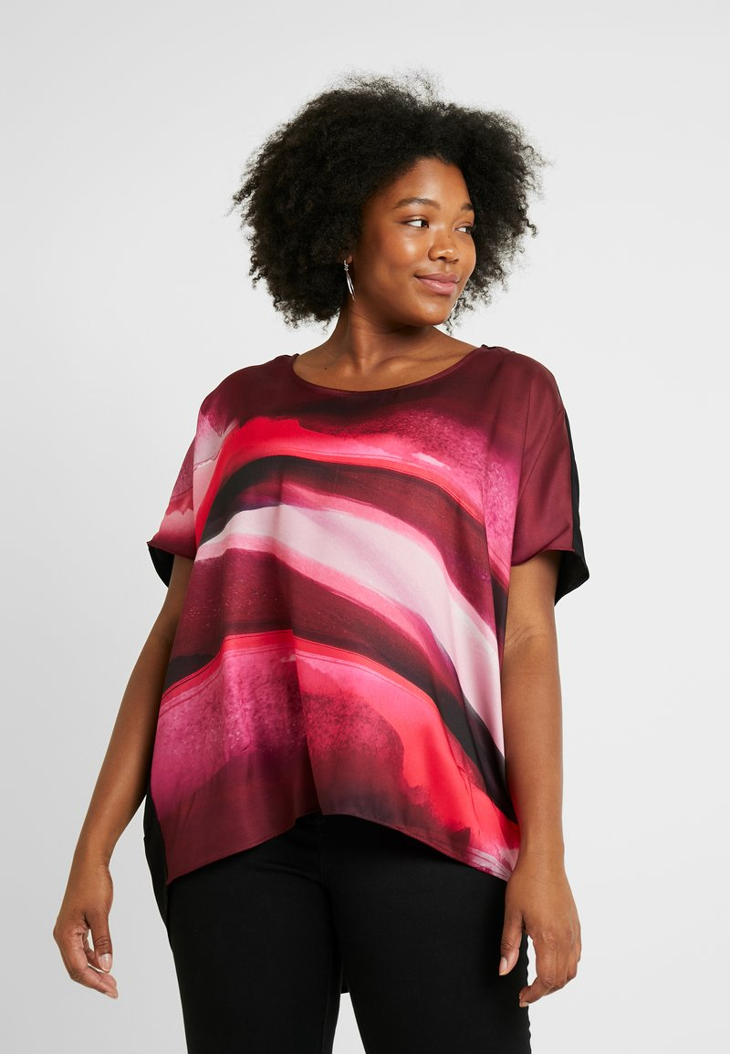 Live Unlimited London - PRINTED COCOON - Blouse - wine