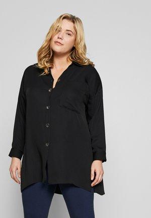 LONG LINE WITH SPLIT - Button-down blouse - black