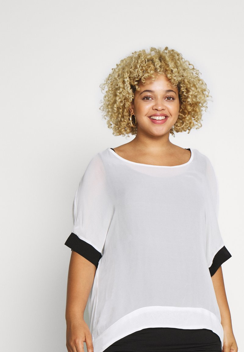 Live Unlimited London - MONO BLOUSE WITH CUFF - Blouse - white