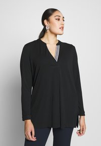 Live Unlimited London - FRENCH CREPE BLOUSE - Long sleeved top - black - 0