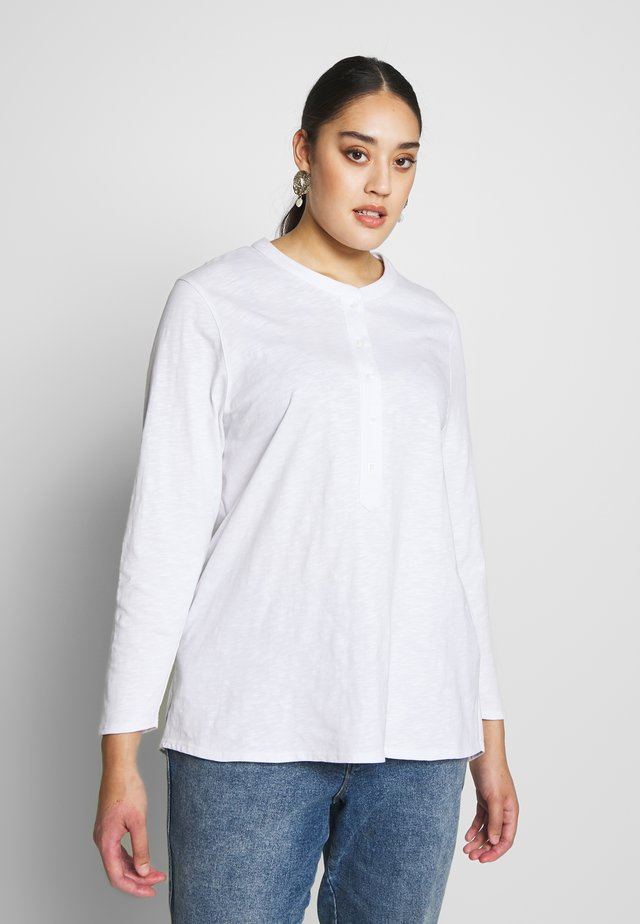 WHITE SLUB TEE - Long sleeved top - white