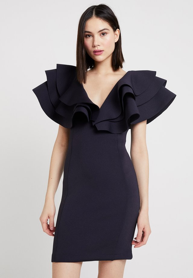 EXAGGERATED TIERED SLEEVE MINI DRESS - Cocktailjurk - black