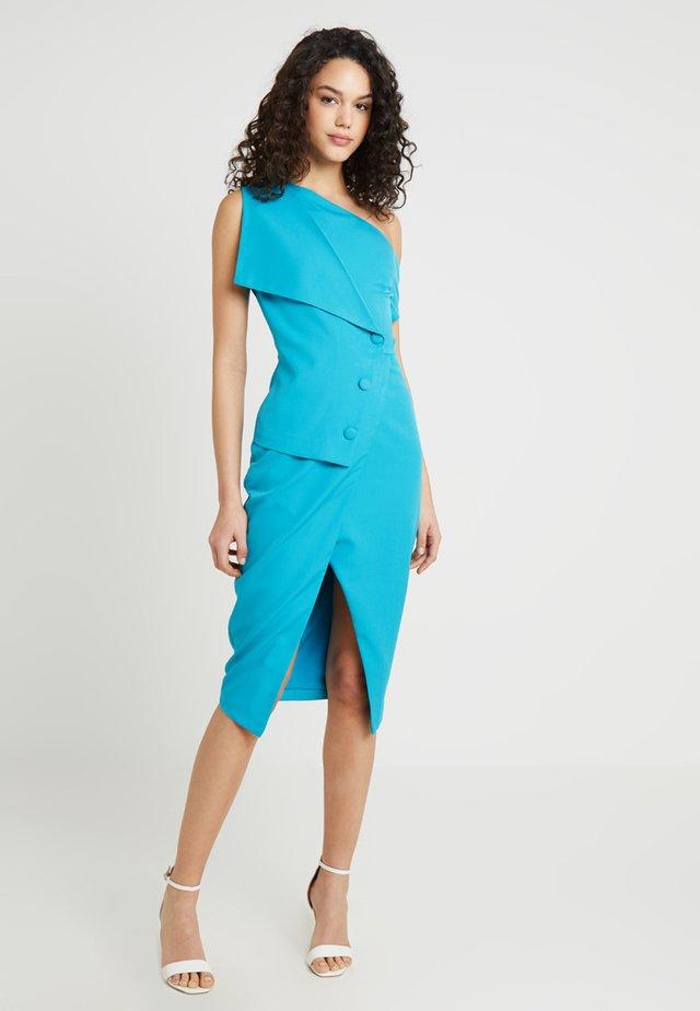 BUTTON DETAIL OFF SHOULDER WRAP DRESS - Cocktailkleid/festliches Kleid - turquoise