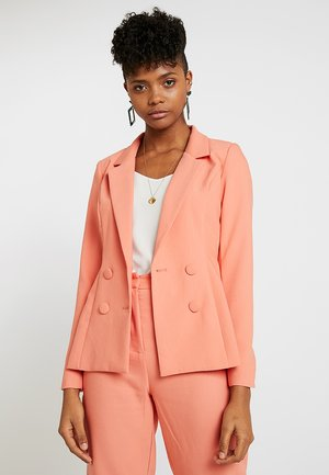 DOUBLE BREASTED COVERED BUTTON JACKET - Blazer - papaya