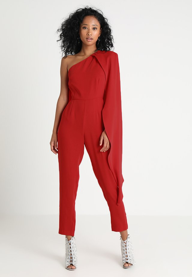 ONE SHOULDER CAPE TAILORED - Jumpsuit - red