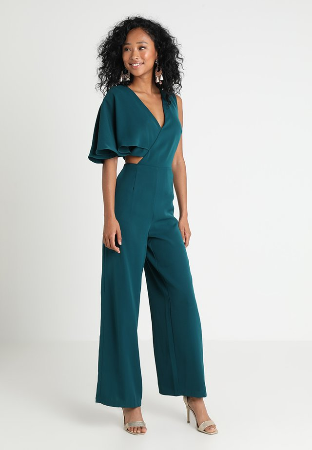 ONE SLEEVE CUTOUT WIDE LEG - Jumpsuit - forest green