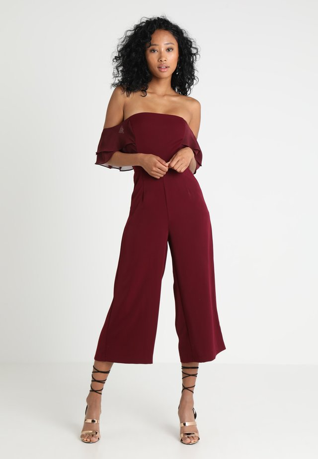 DOUBLE TIERED MIX OFF THE SHOULDER CULOTTE - Jumpsuit - burgundy
