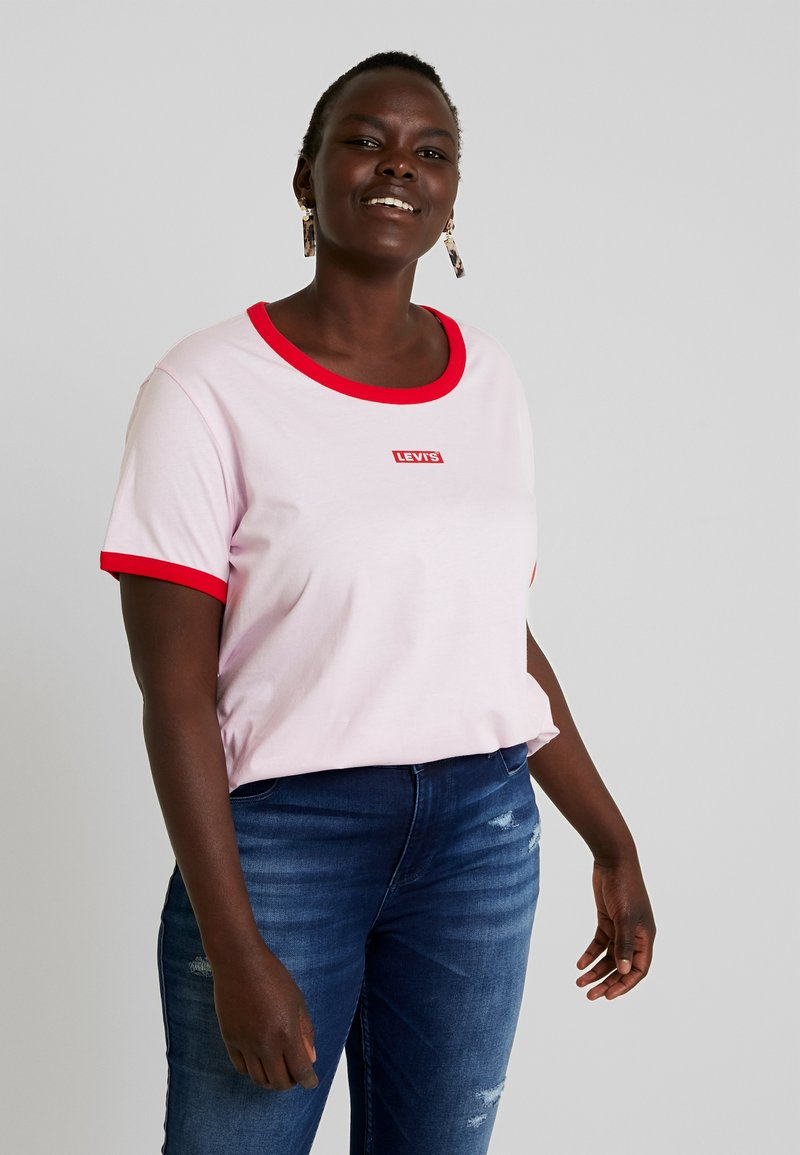 Levi's® Plus - GRAPHIC RINGER TEE - Print T-shirt - baby tab pink lady