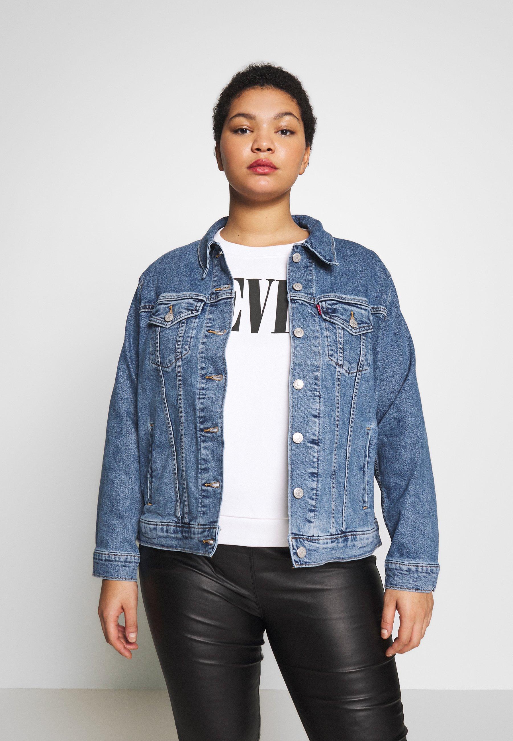 Levi's® Plus BOYFRIEND TRUCKER - Kurtka jeansowa - light-blue denim