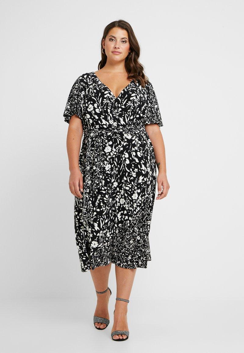 Lauren Ralph Lauren Woman - DALTA SHORT SLEEVE DAY DRESS - Jerseykjoler - black/colonial cream
