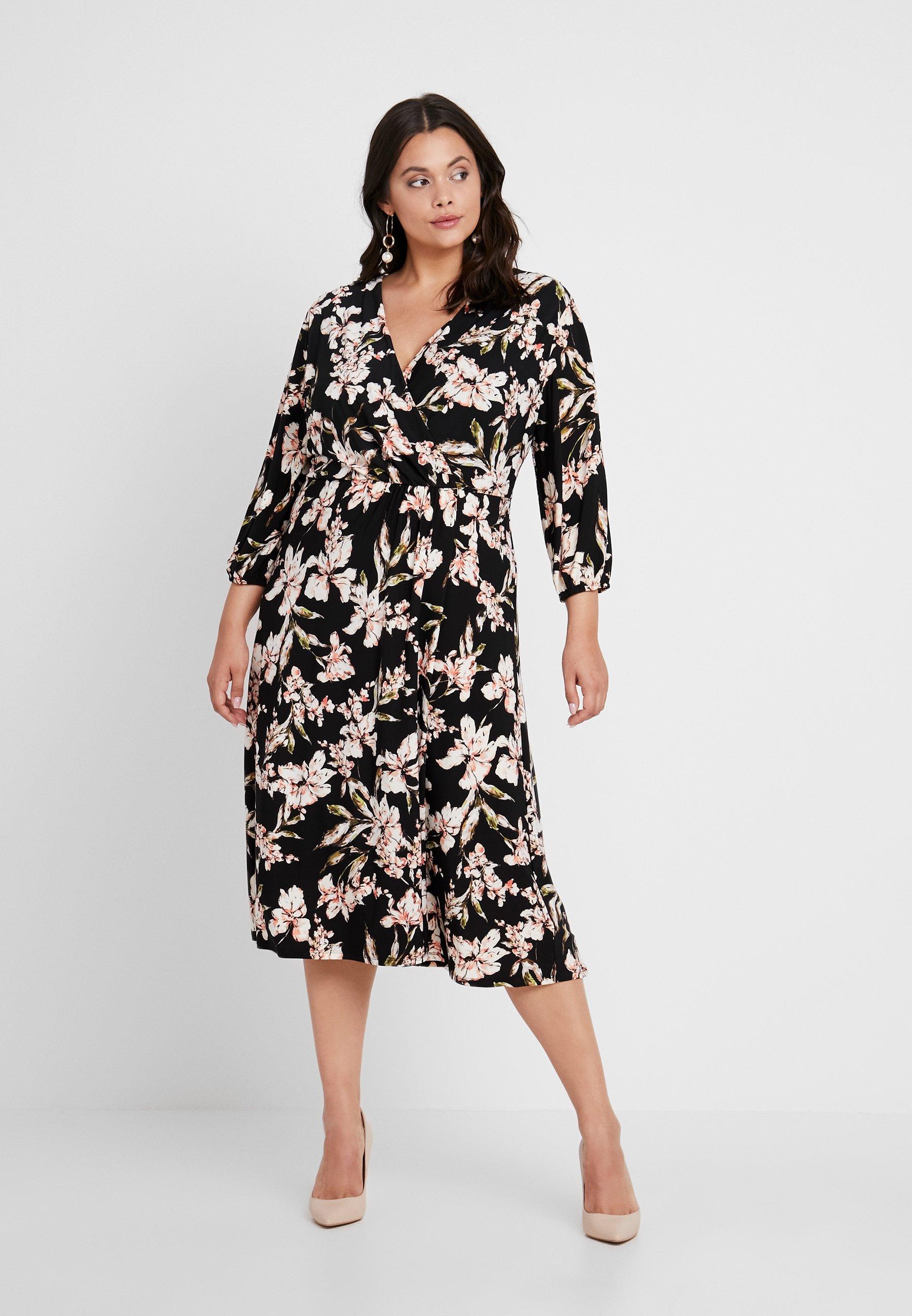 Lauren Ralph Lauren Woman Vestito di maglina - multicolore black/pink/multi