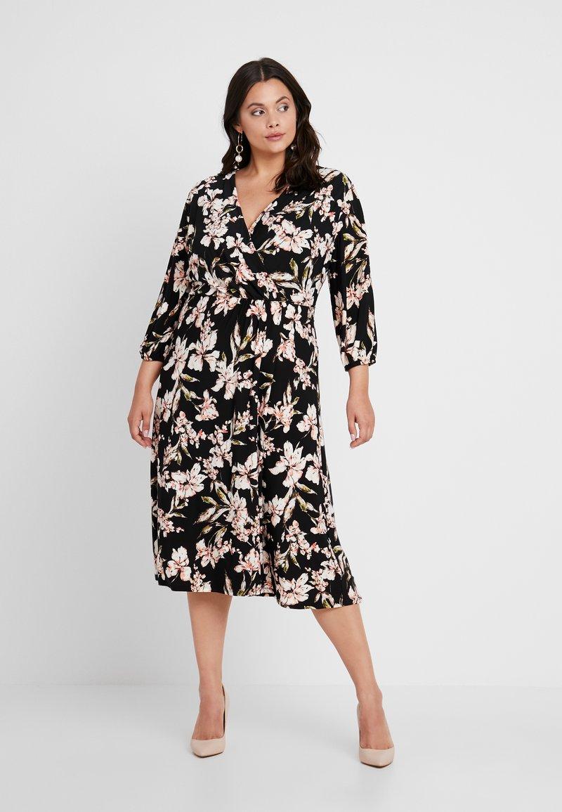 Lauren Ralph Lauren Woman - VASHENDRIA LONG SLEEVE DAY DRESS - Jerseykleid - black/pink/multi