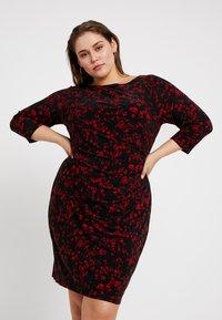 Lauren Ralph Lauren Woman - VICTORINA 3/4 SLEEVE DAY DRESS - Robe en jersey - black/scarlet red - 0