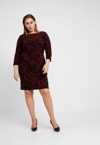 Lauren Ralph Lauren Woman - VICTORINA 3/4 SLEEVE DAY DRESS - Robe en jersey - black/scarlet red - 2