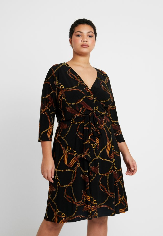 CARLYNA - Jerseykleid - black/gold/multi