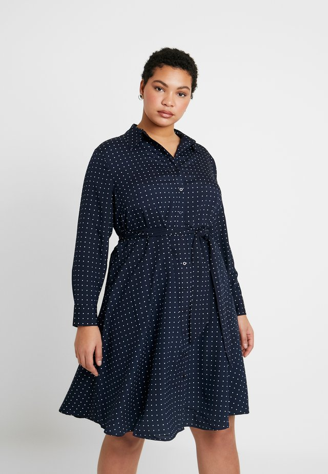 KARNIELA LONG SLEEVE CASUAL DRESS - Shirt dress - navy/silk white