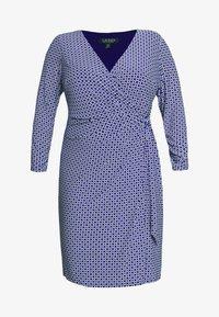 Lauren Ralph Lauren Woman - CASONDRA LONG SLEEVE DAY DRESS - Vestido de tubo - parisian blue/colonial cream - 4