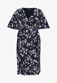 Lauren Ralph Lauren Woman - FRASIER SHORT SLEEVE DAY DRESS - Jersey dress - navy/cream/multi - 4