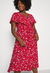Lauren Ralph Lauren Woman - CHRISSY SHORT SLEEVE DAY DRESS - Žerzejové šaty - persimmon/charcoal/cream - 3