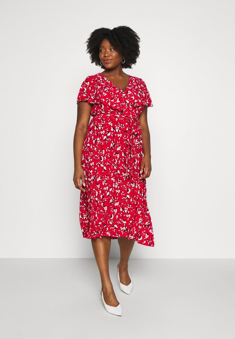 Lauren Ralph Lauren Woman - CHRISSY SHORT SLEEVE DAY DRESS - Žerzejové šaty - persimmon/charcoal/cream