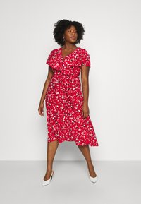 Lauren Ralph Lauren Woman - CHRISSY SHORT SLEEVE DAY DRESS - Žerzejové šaty - persimmon/charcoal/cream - 1