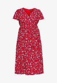 Lauren Ralph Lauren Woman - CHRISSY SHORT SLEEVE DAY DRESS - Žerzejové šaty - persimmon/charcoal/cream - 4