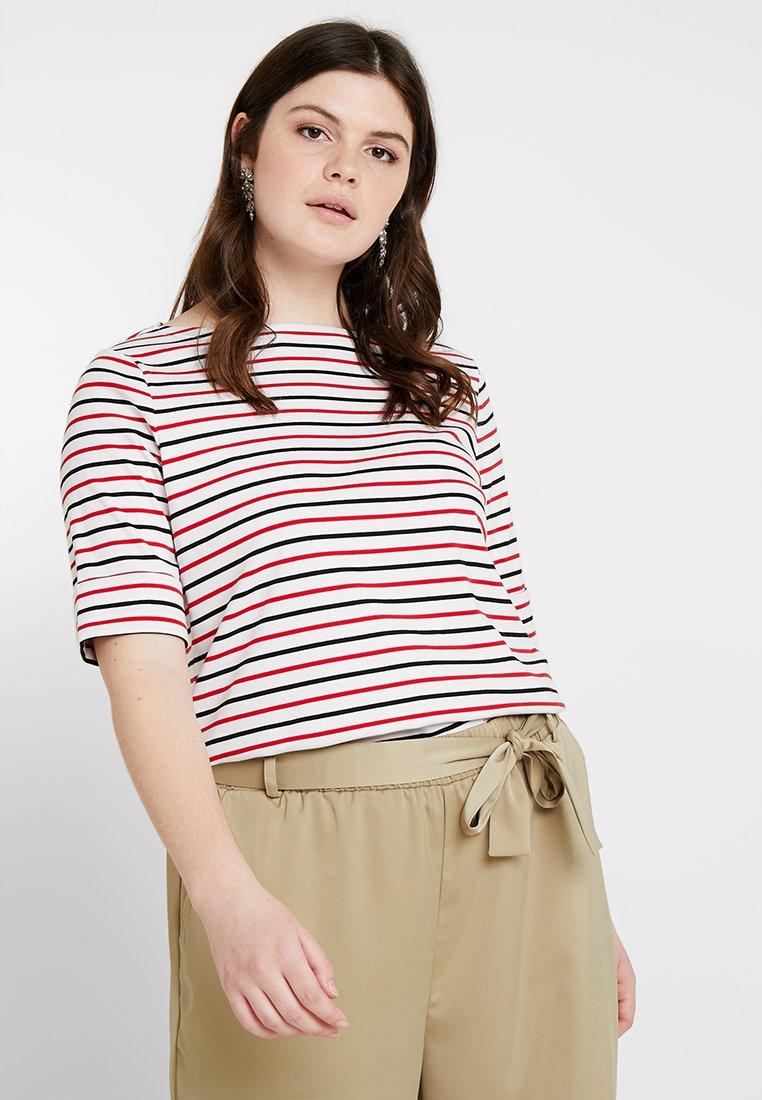 Lauren Ralph Lauren Woman - JUDY ELBOW SLEEVE - Basic T-shirt - whit/black/lipstick red