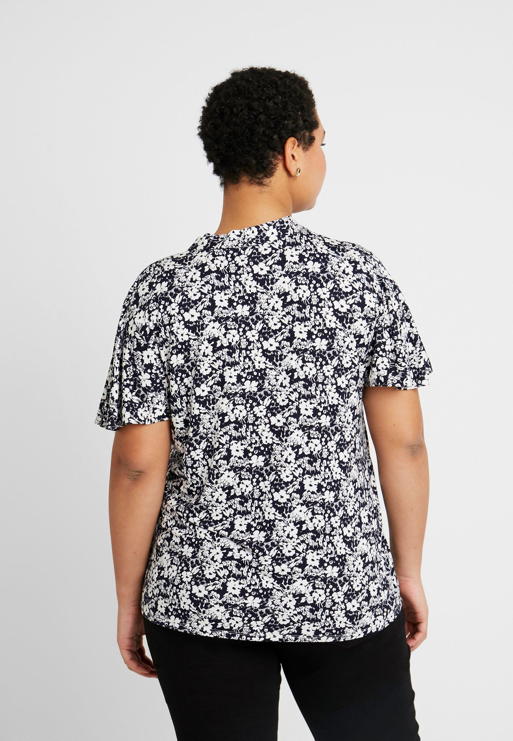 Lauren Ralph Lauren Woman VARETTA SHORT SLEEVE - T-shirts med print - navy/pale cream