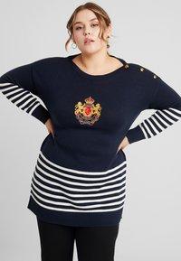Lauren Ralph Lauren Woman - KERENSA LONG SLEEVE - Jersey de punto - navy/mascarpone cream - 0