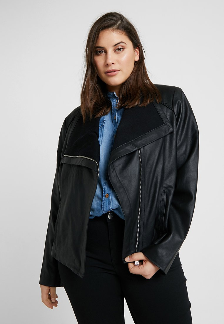 Lauren Ralph Lauren Woman - DRAPE FRONT - Leather jacket - black
