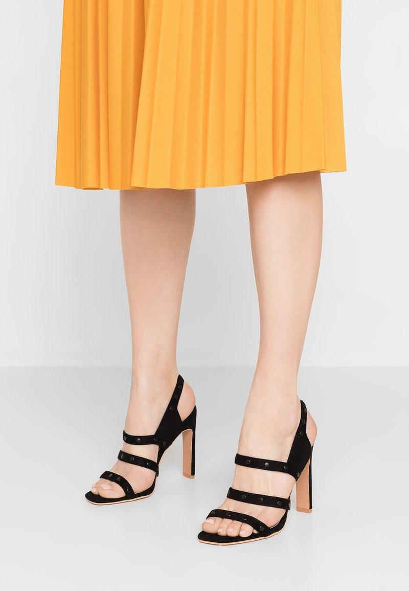 Lost Ink - ROBIN STUDDED SQUARE TOE  - High heeled sandals - black