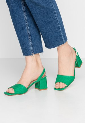 RIVA SQUARE MID FLARED HEELED - Sandalen - green
